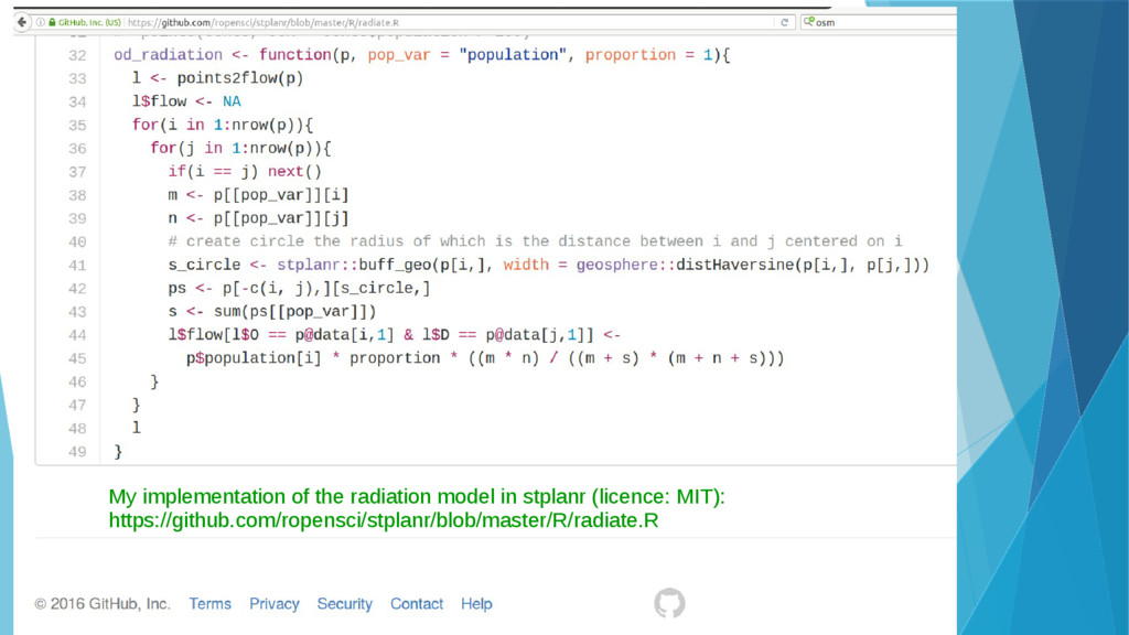 My implementation of the radiation model in stp...