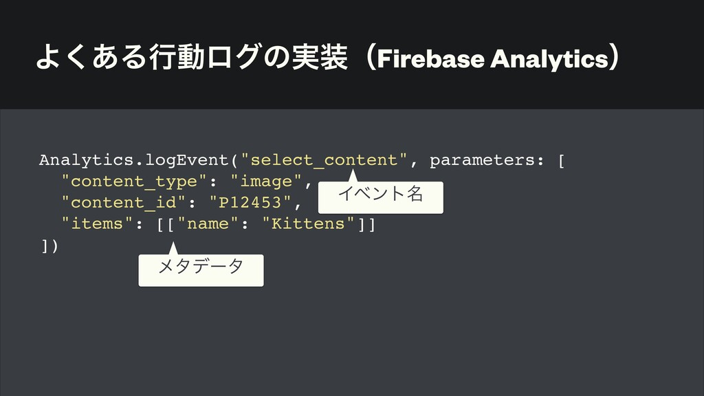 Α͋͘Δߦಈϩάͷ࣮ʢFirebase Analyticsʣ Analytics.logEv...