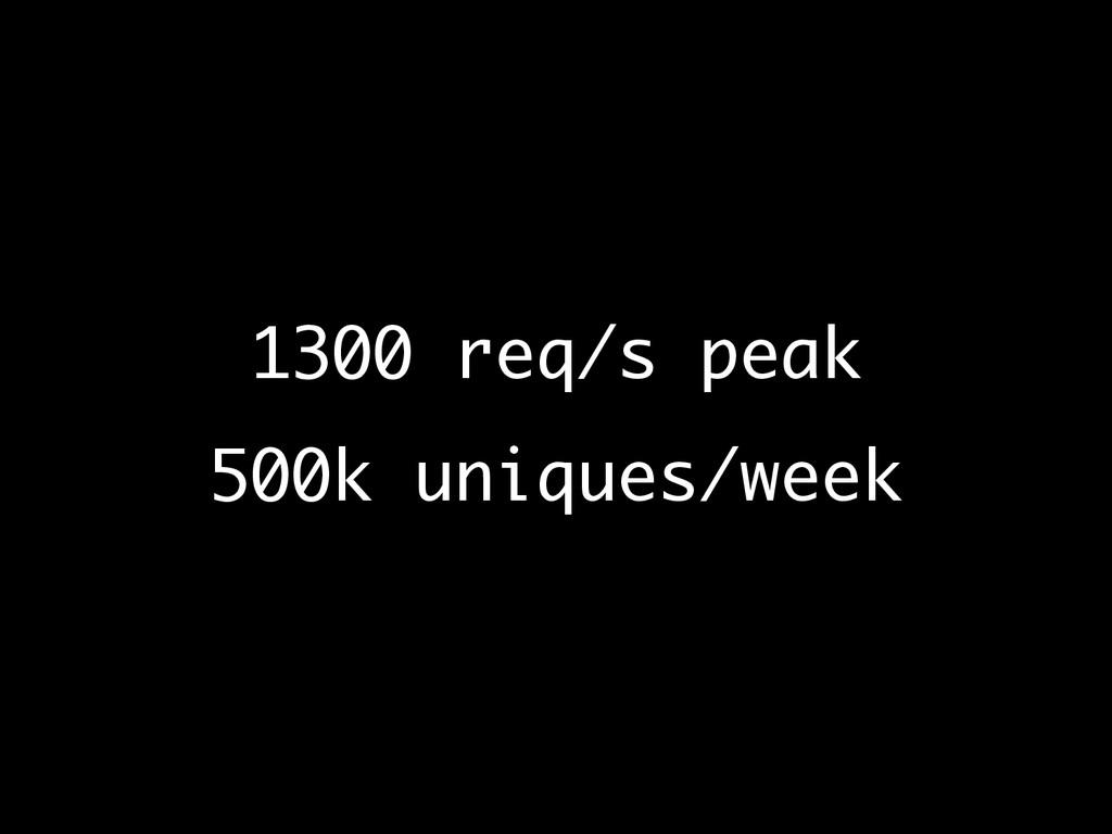 1300 req/s peak 500k uniques/week