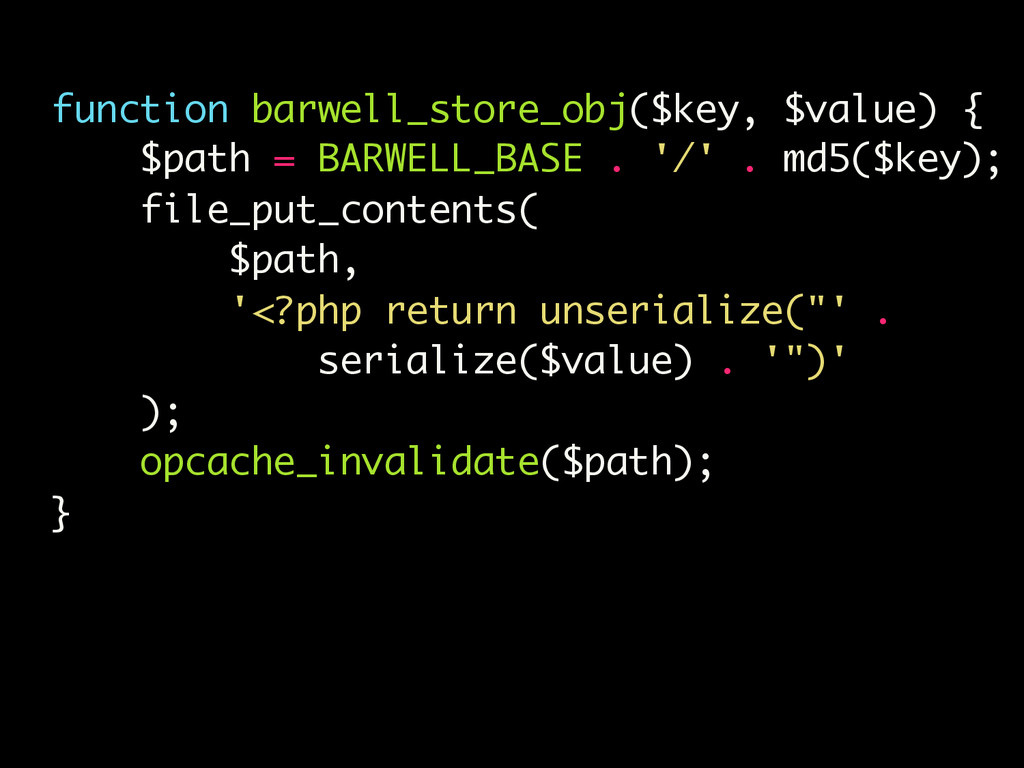 function barwell_store_obj($key, $value) { $pat...