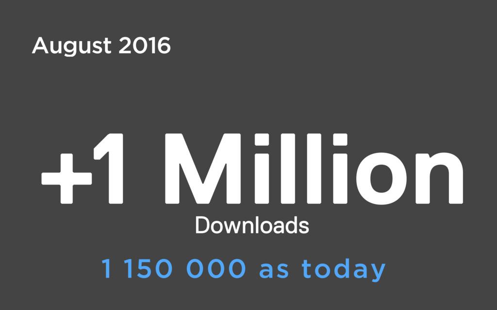 +1 Million Downloads August 2016 1 150 000 as t...