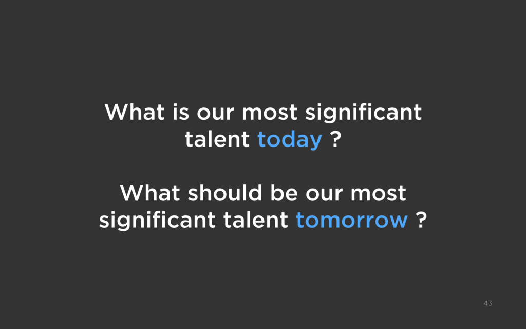 What is our most significant talent today ? Wha...
