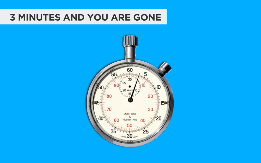 3 MINUTES AND YOU ARE GONE