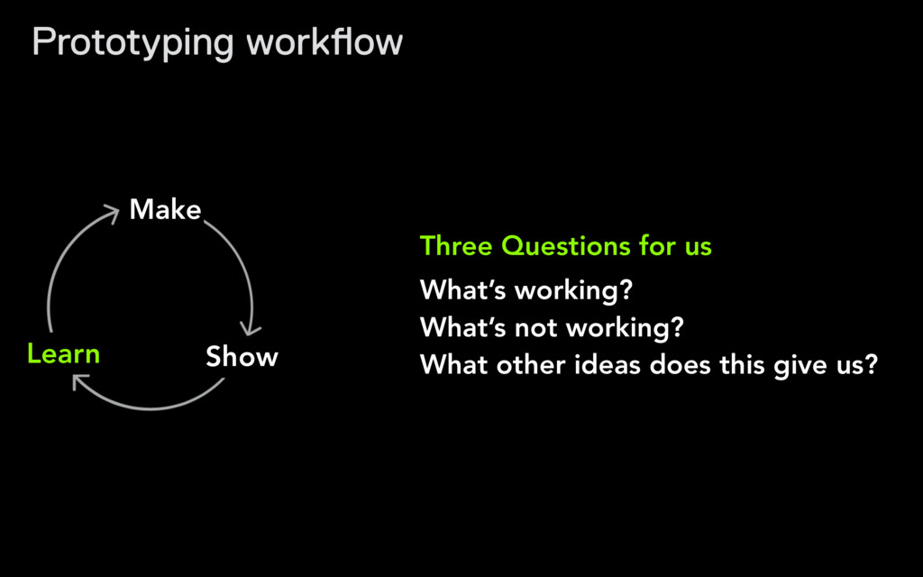 Three Questions for us What's working? What's ...