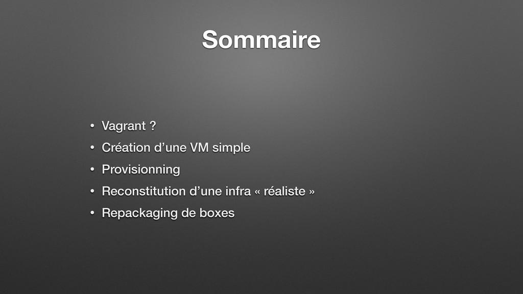 Sommaire • Vagrant ? • Création d'une VM simple...