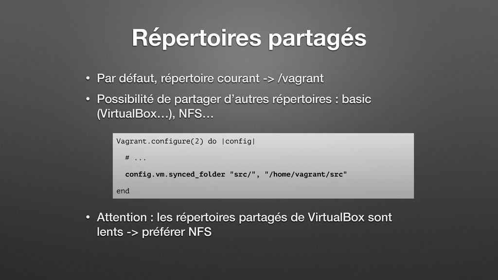 Répertoires partagés • Par défaut, répertoire c...