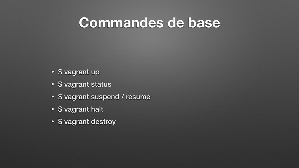 Commandes de base • $ vagrant up • $ vagrant st...