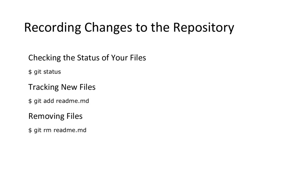 Recording Changes to the Repository Checking th...