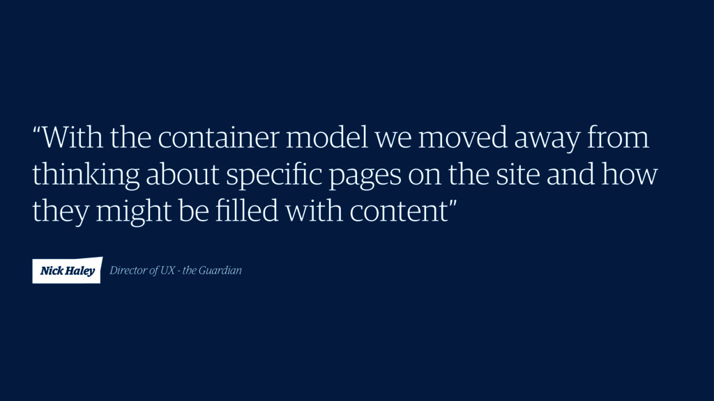 """""""With the container model we moved away from th..."""