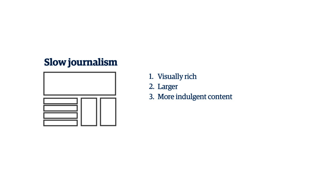 Slow journalism 1. Visually rich 2. Larger 3. M...
