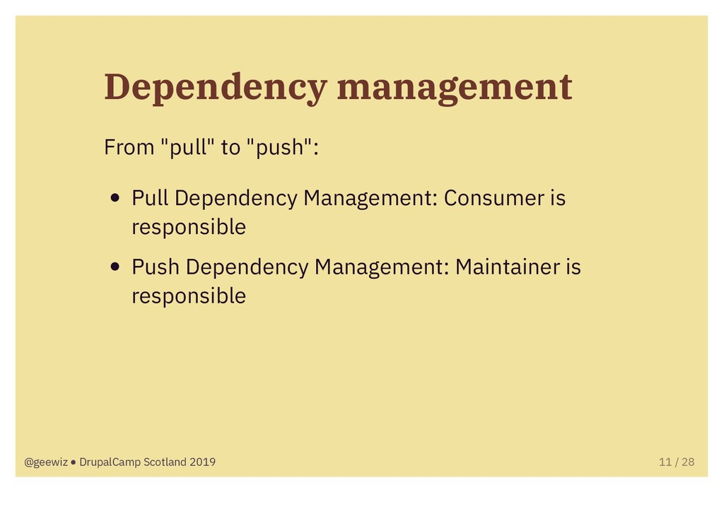 """Dependency management From """"pull"""" to """"push"""": Pu..."""