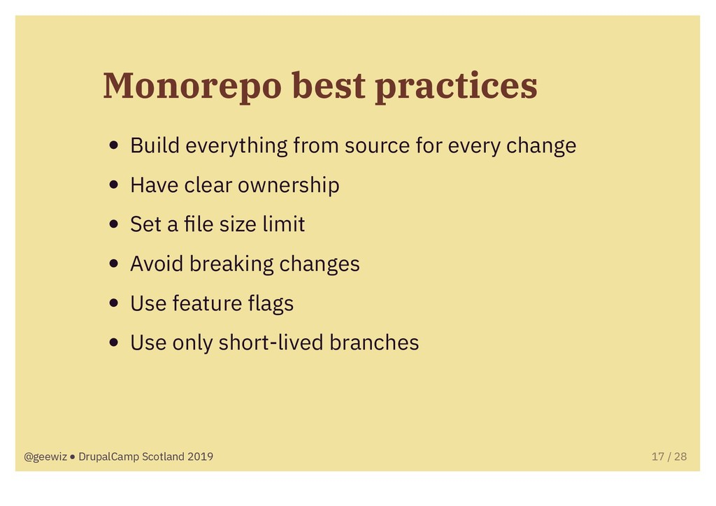 Monorepo best practices Build everything from s...