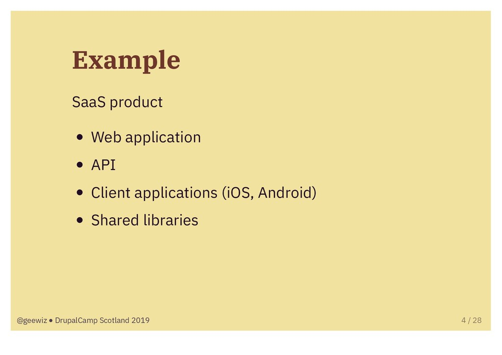 Example SaaS product Web application API Client...