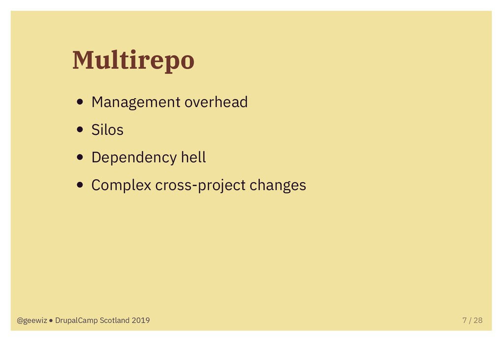 Multirepo Management overhead Silos Dependency ...