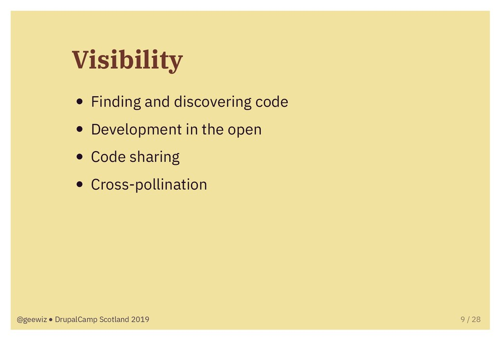 Visibility Finding and discovering code Develop...