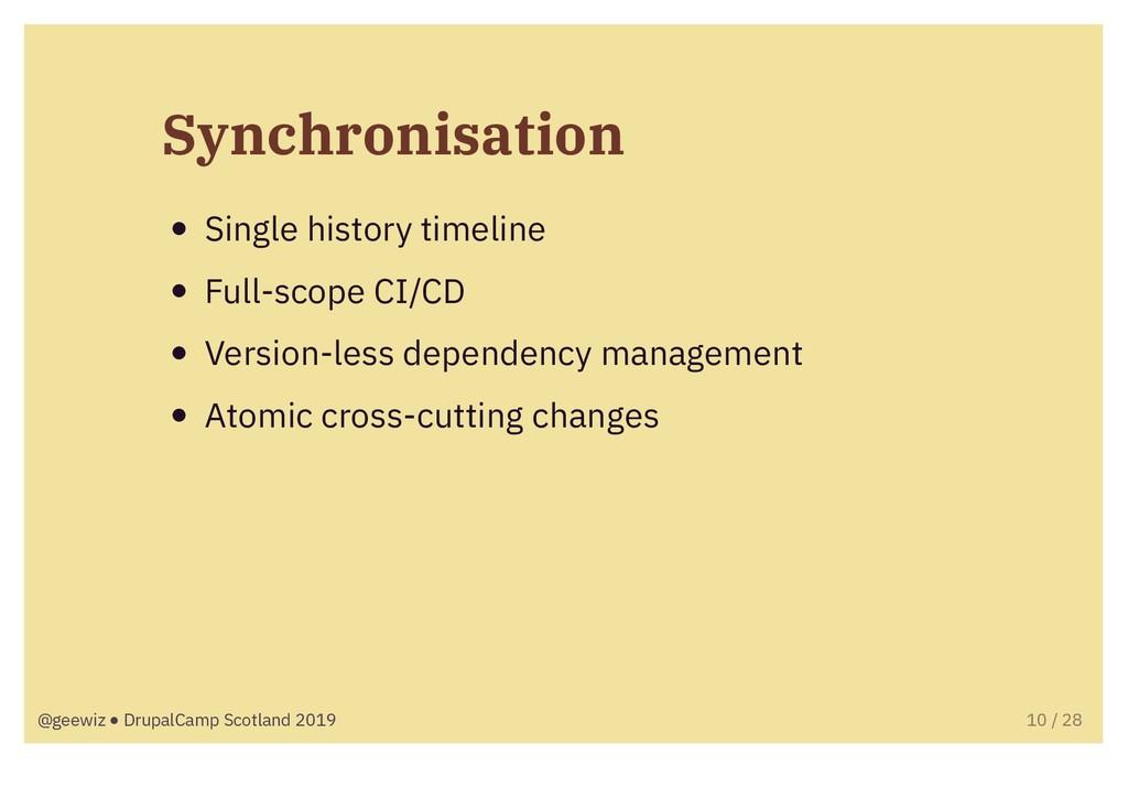 Synchronisation Single history timeline Full-sc...