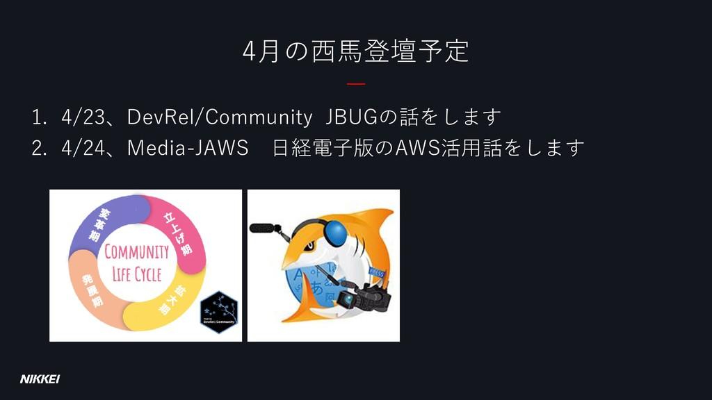 4月の西馬登壇予定 1. 4/23、DevRel/Community JBUGの話をします 2...