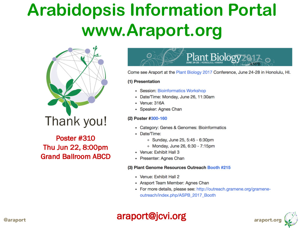 araport.org @araport Thank you! araport@jcvi.or...