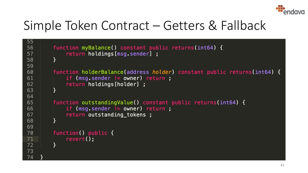Simple Token Contract – Getters & Fallback 41