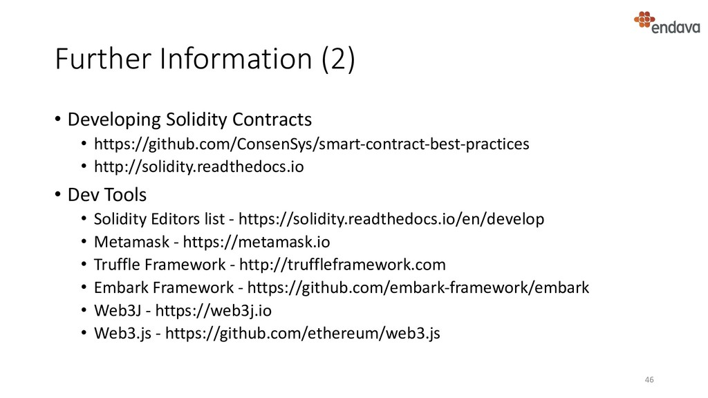 Further Information (2) • Developing Solidity C...
