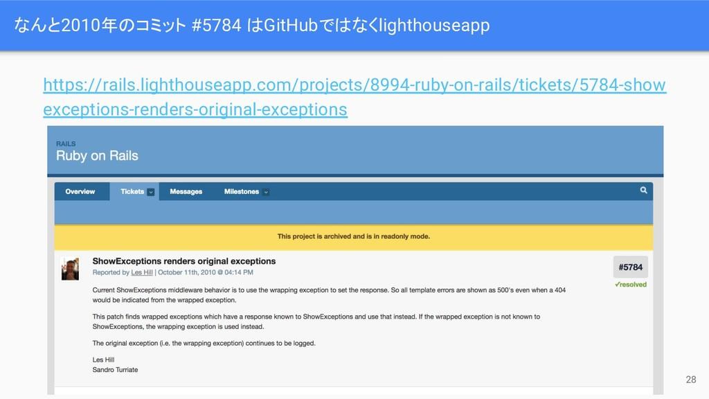 なんと2010年のコミット #5784 はGitHubではなくlighthouseapp 28...