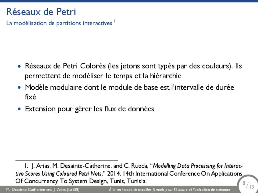 Réseaux de Petri La modélisation de partitions ...