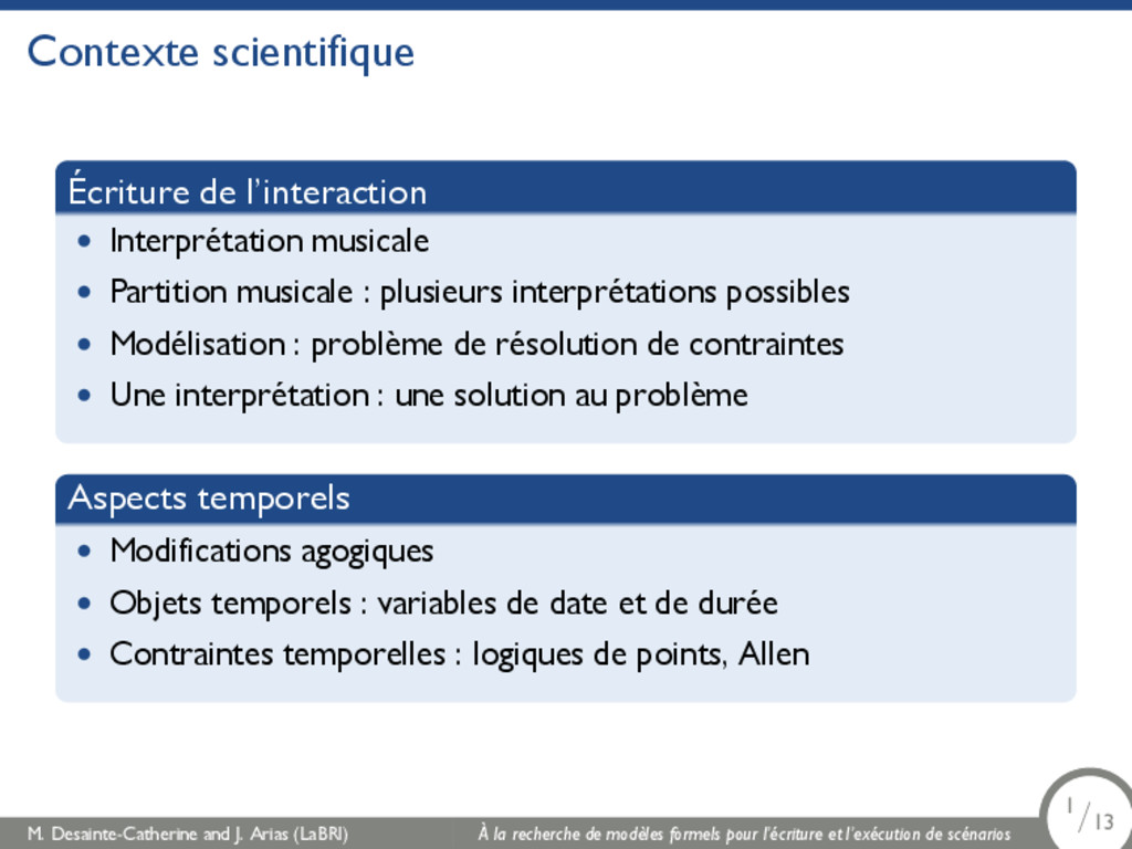 Contexte scientifique Écriture de l'interaction...