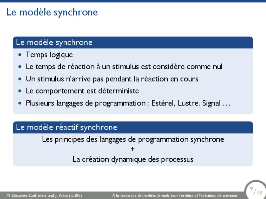 Le modèle synchrone Le modèle synchrone • Temps...
