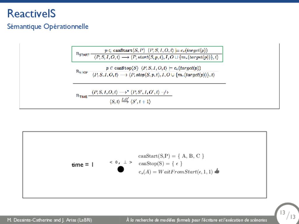 ReactiveIS Sémantique Opérationnelle time = 1 <...