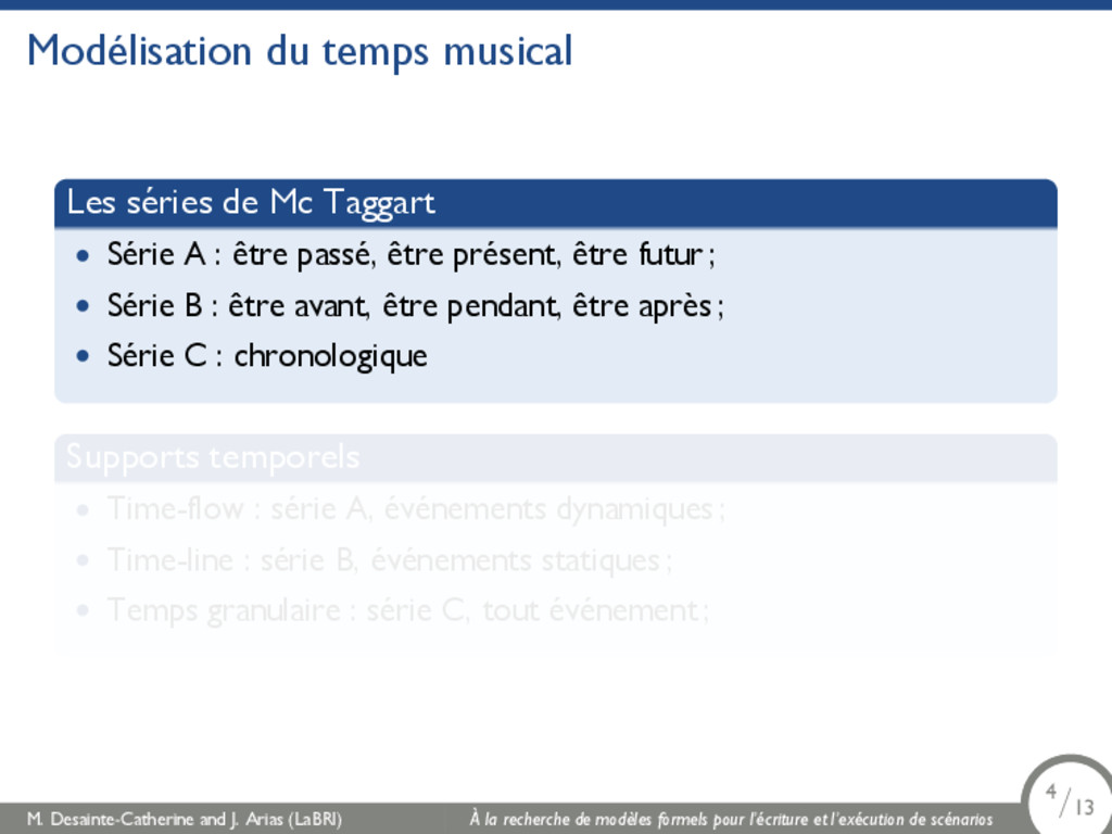 Modélisation du temps musical Les séries de Mc ...
