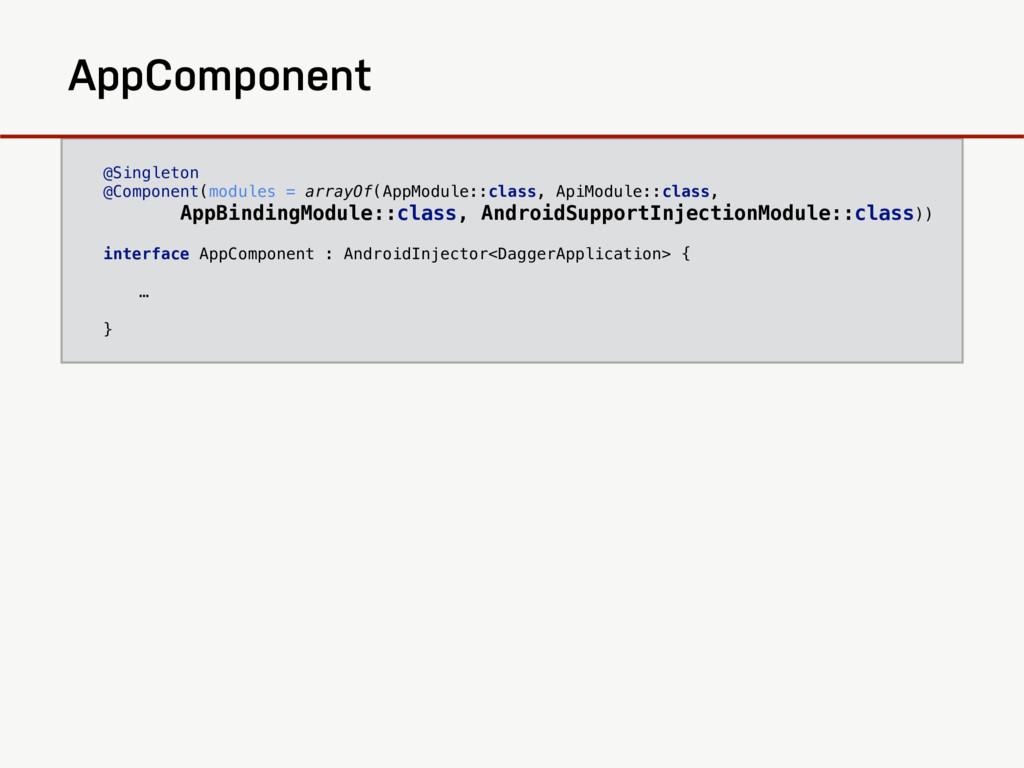 AppBindingModule @Singleton @Component(modules ...
