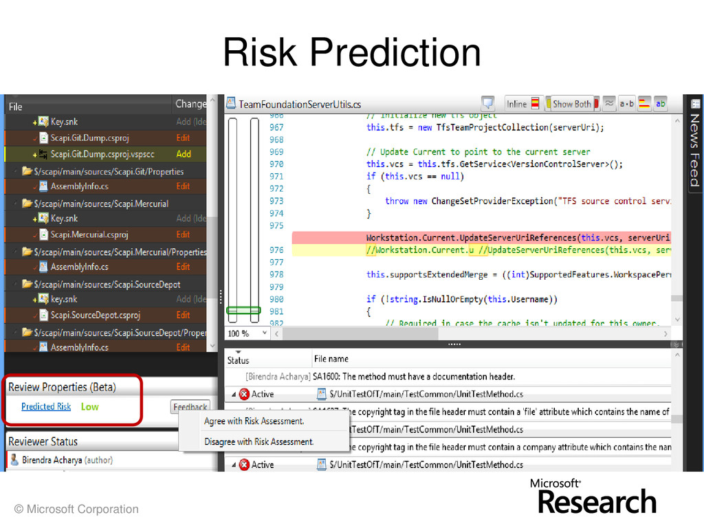 © Microsoft Corporation Risk Prediction