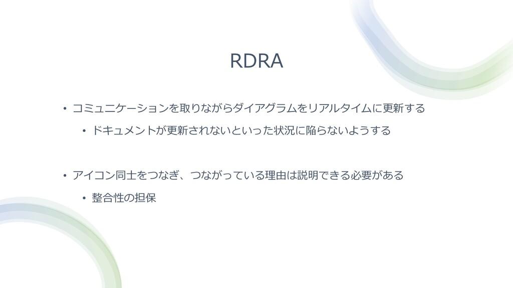 RDRA • コミュニケーションを取りながらダイアグラムをリアルタイムに更新する • ドキュメ...