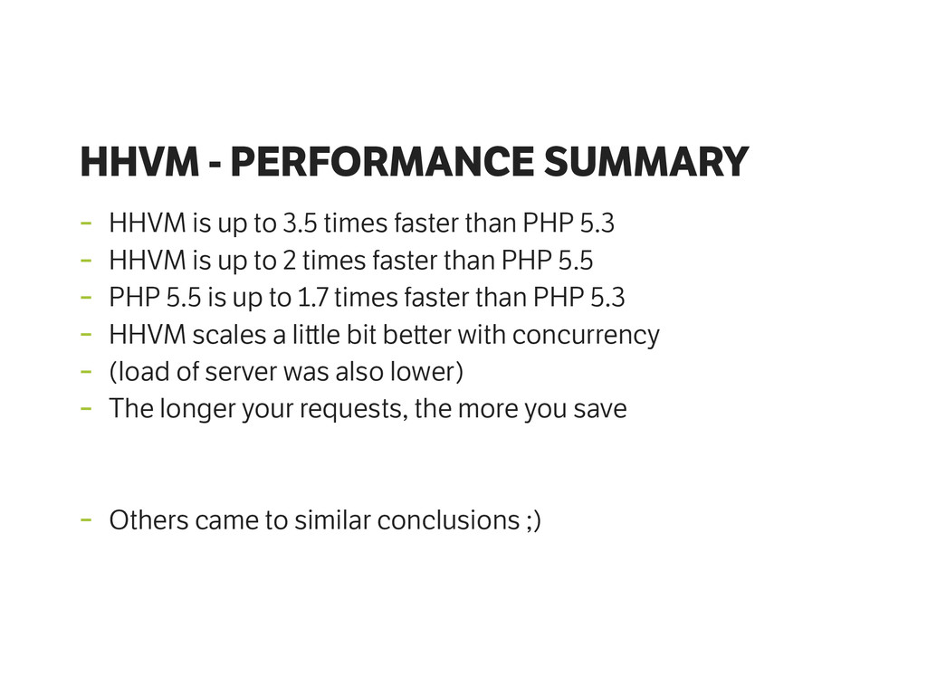 HHVM - PERFORMANCE SUMMARY - HHVM is up to 3.5 ...
