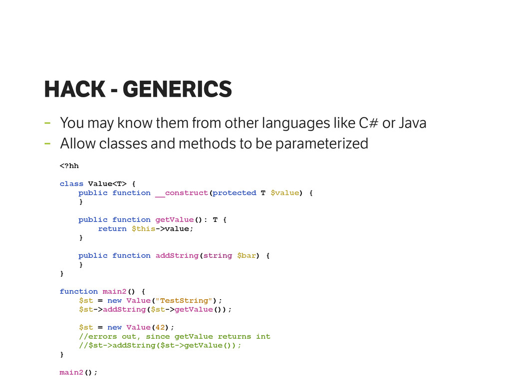 HACK - GENERICS - You may know them from other ...