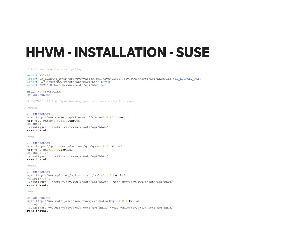 HHVM - INSTALLATION - SUSE # this is needed for...
