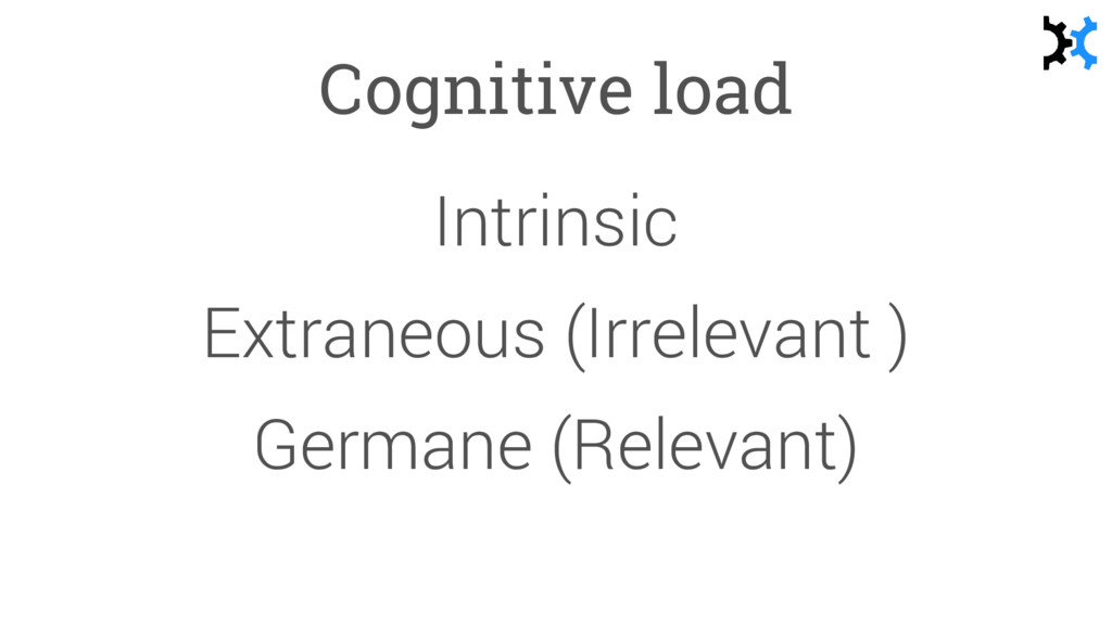 Cognitive load Intrinsic Extraneous (Irrelevant...