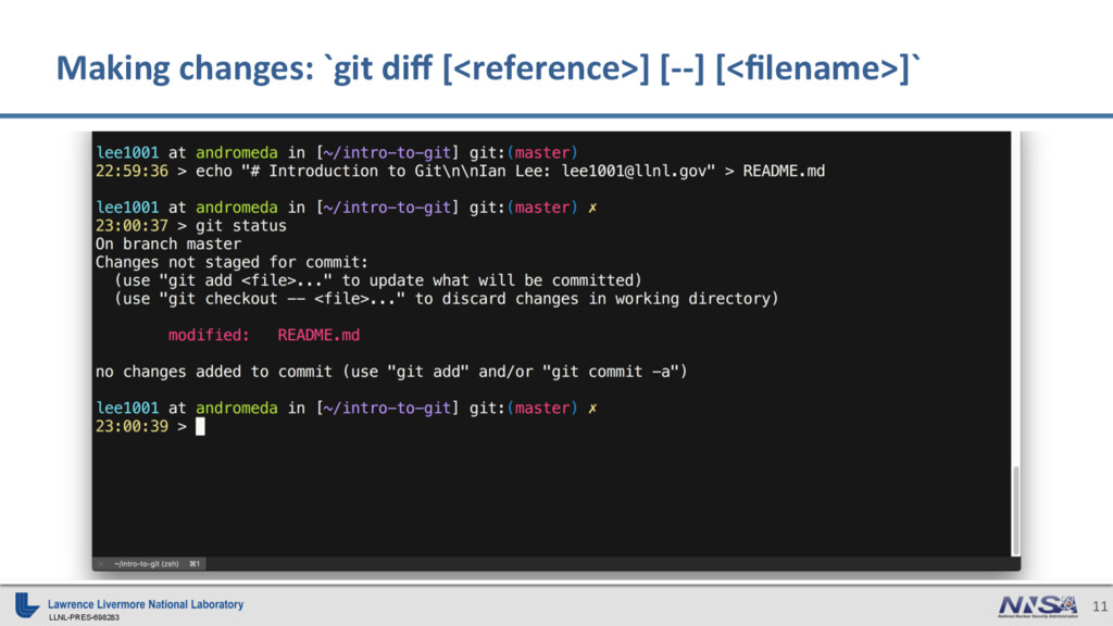 LLNL-PRES-698283 11 Making changes: `git diff [<...