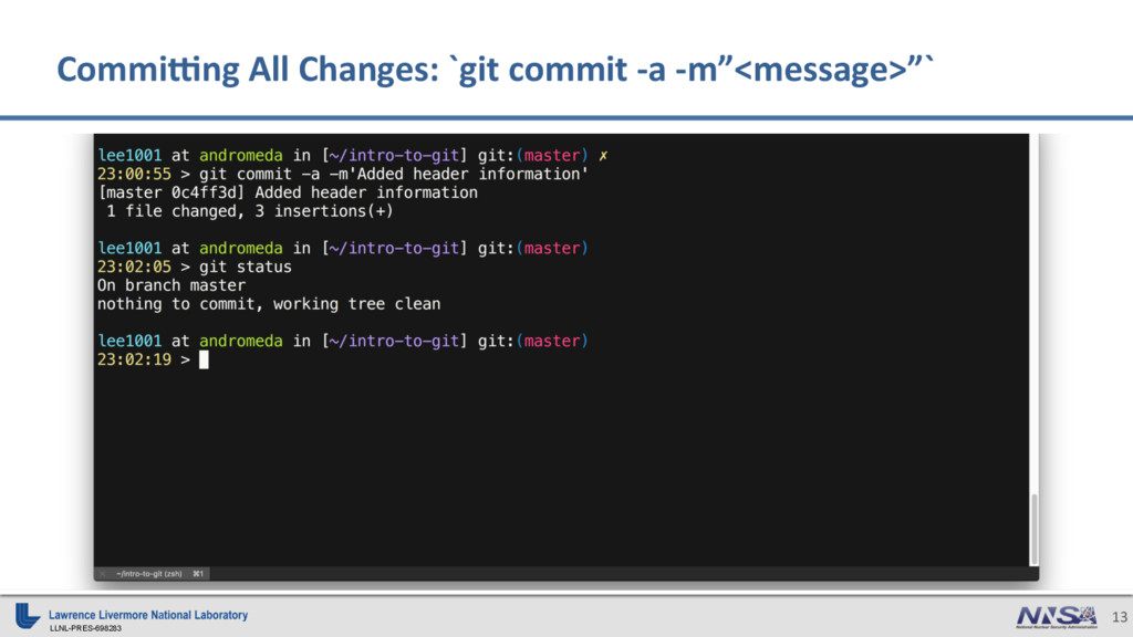LLNL-PRES-698283 13 CommiSng All Changes: `git ...