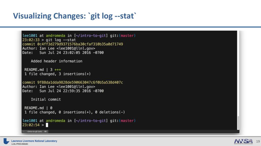 LLNL-PRES-698283 19 Visualizing Changes: `git l...