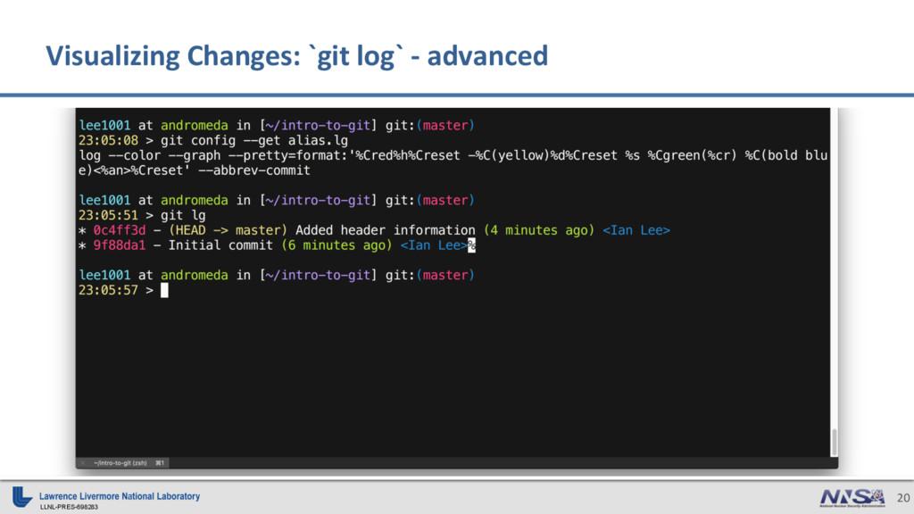 LLNL-PRES-698283 20 Visualizing Changes: `git l...