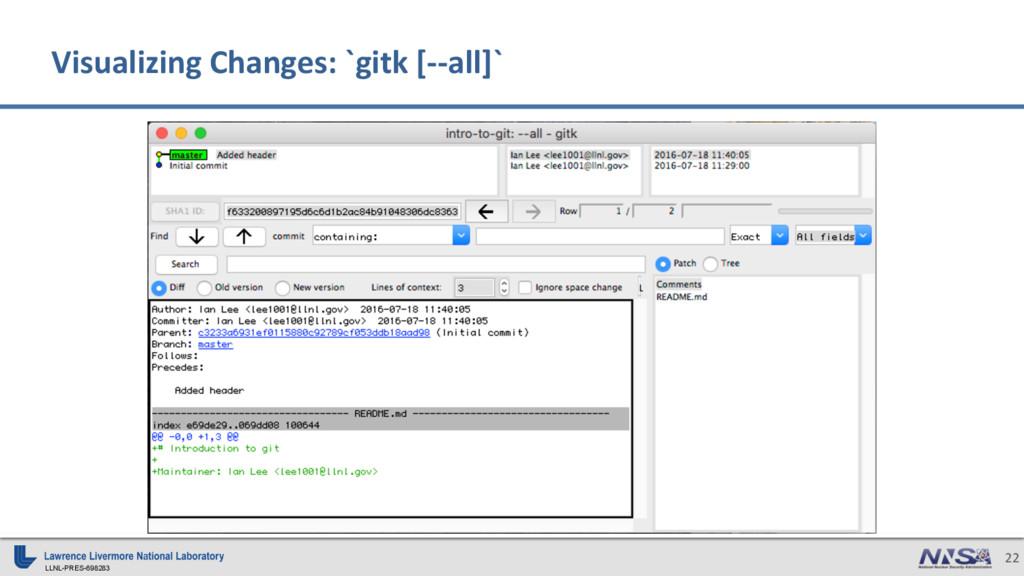 LLNL-PRES-698283 22 Visualizing Changes: `gitk ...