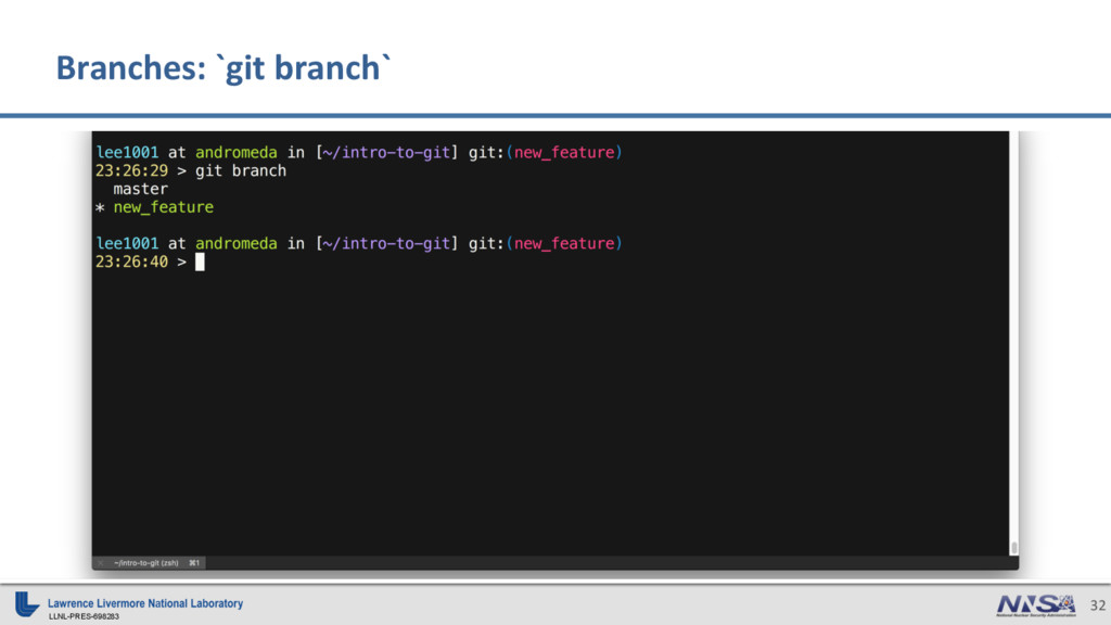 LLNL-PRES-698283 32 Branches: `git branch`
