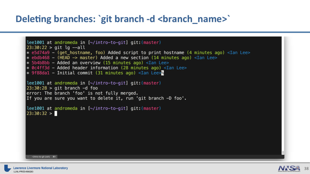 LLNL-PRES-698283 38 Dele)ng branches: `git bran...