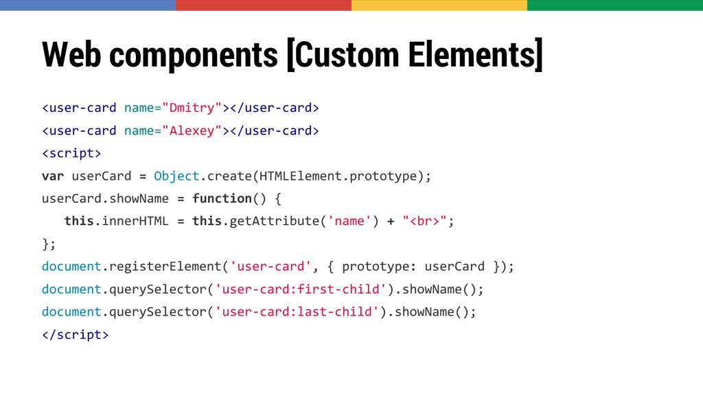 Web components [Custom Elements] <user-card nam...