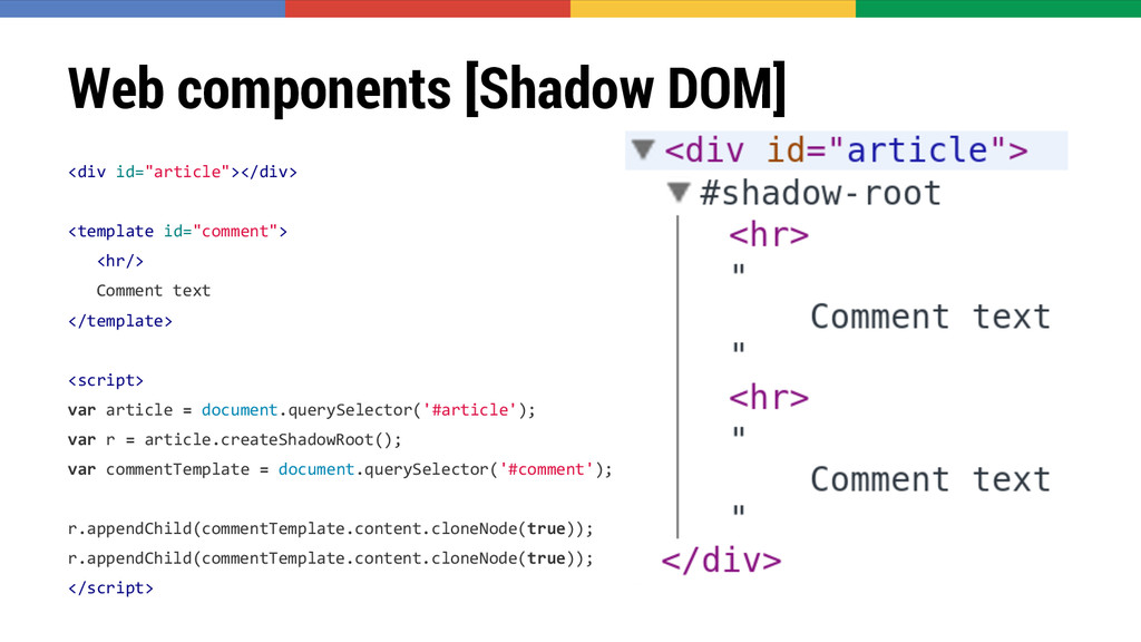 """Web components [Shadow DOM] <div id=""""article""""><..."""