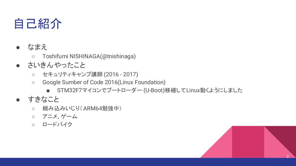 自己紹介 ● なまえ ○ Toshifumi NISHINAGA(@tnishinaga) ●...