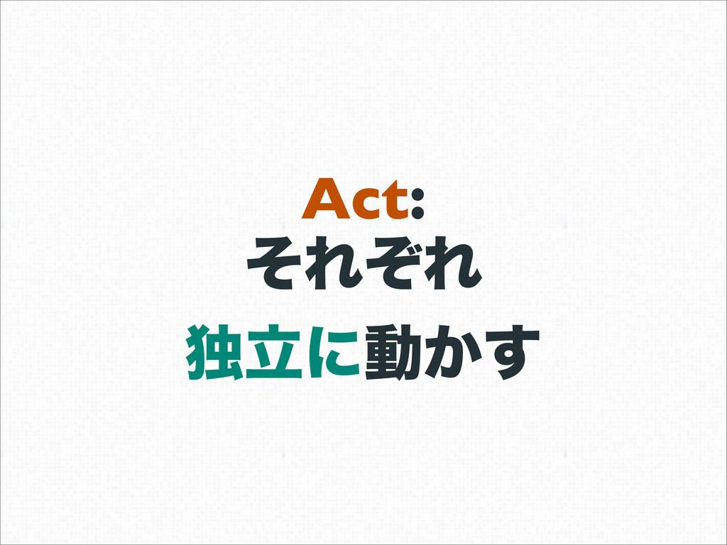 Act: ͦΕͧΕ ಠཱʹಈ͔͢