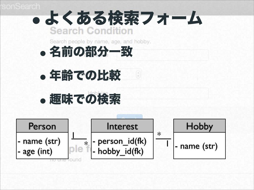 wΑ͋͘ΔݕࡧϑΥʔϜ w໊લͷ෦Ұக wྸͰͷൺֱ wझຯͰͷݕࡧ Person - n...