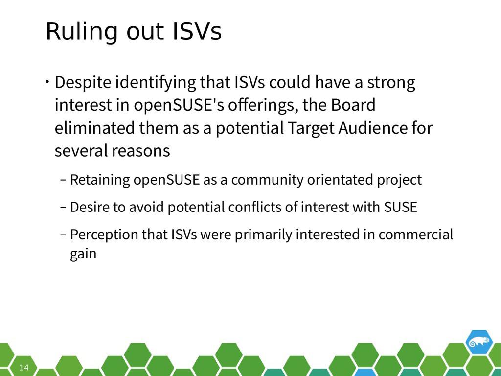 14 Ruling out ISVs • Despite identifying that I...